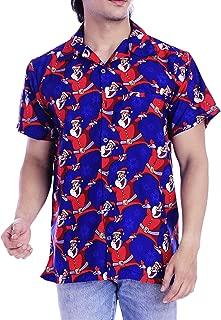 Funny Mens Christmas Hawaiian Shirts Laughing Santa Claus Front Pocket