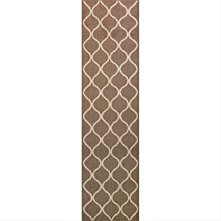 Maples Rugs Rebecca Non Skid Hallway Carpet Entry [Made In Usa] For Kitchen And Entryway Rugs Runners, 2'6 x 10', Café Brown/White