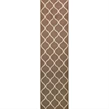 Maples Rugs Rebecca Contemporary Runner Rug Non Slip Hallway Entry Carpet [Made in USA], 2'6 x 10, Café Brown/White