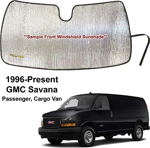 YelloPro Custom Fit Reflective Front Windshield Sunshade for 1996-2021 GMC Savana Van, Passenger & Cargo Van, Accessories UV Reflector Sun Protection [Made in USA]