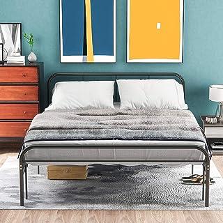 Itopfoxeu Cadre de lit simple en métal - Tête et pied - Lit pour adolescents et adultes - Cadre de lit pour salon - Noir (...