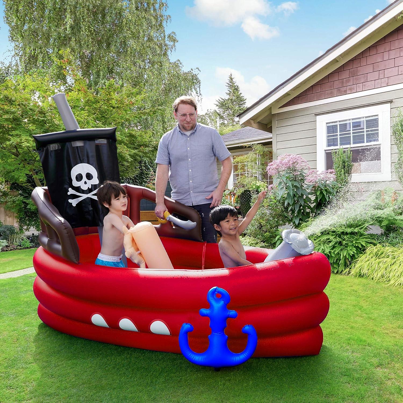 Barco Pirata Inflable para niños Teamson para jardín Infantil TK-48272R-UK / EU