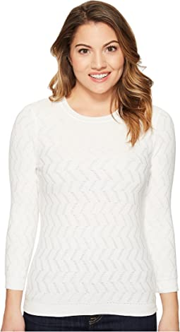 Vince Camuto Specialty Size - Petite 3/4 Sleeve Textured Stitch Sweater
