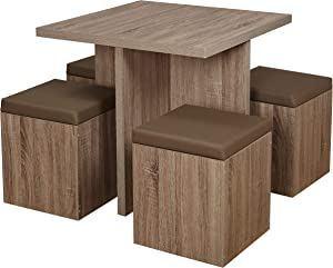 The Mezzanine Shoppe Baxter Modern Dining Room Table and Storage Stool Set, 5 Piece, Natural