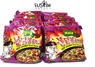 Fusion Select Samyang MALA 4x Buldak Bokeum Ramen. 10pcs. Spicy Hot Chicken Flavor Ramen