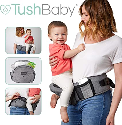 TushBaby The Only Safety Certified Hip Seat Baby Carrier – As Seen On Shark Tank, Ergonomic Waist Carrier for Newborns, Toddlers & Children, Grey