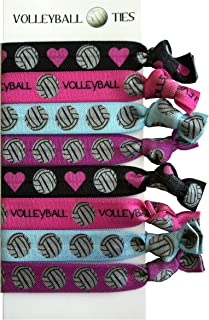 8 Piece Volleyball Hair Elastic Set - Accessories for Players, Women, Girls, Coaches, High School Teams, Club Teams and Leagues - MADE in the USA