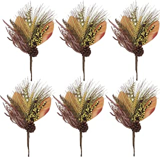 Valery Madelyn 6 Packs Fall Picks with Pine Needle and Berries, Floral Picks for Fall Decor, Thanksgiving Fall Decorations, Autumn Decor, Crafting and Displaying