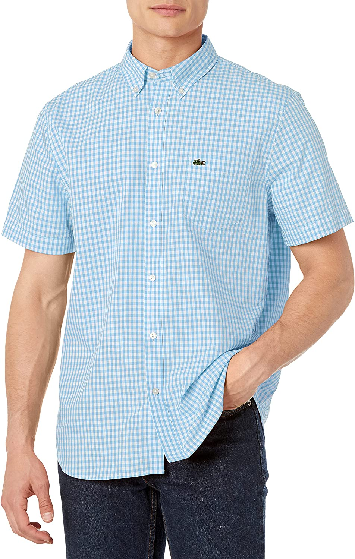 Lacoste Men's Short Sleeve Special sale item San Jose Mall Gingham Regular Shirt Fit Poplin