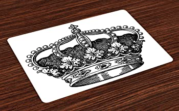Ambesonne Queen Place Mats Set of 4, Antique Royal Crown Kingdom Emperor Ruler Czar Monarchy Authority, Washable Fabric Placemats for Dining Room Kitchen Table Decor, Black and White
