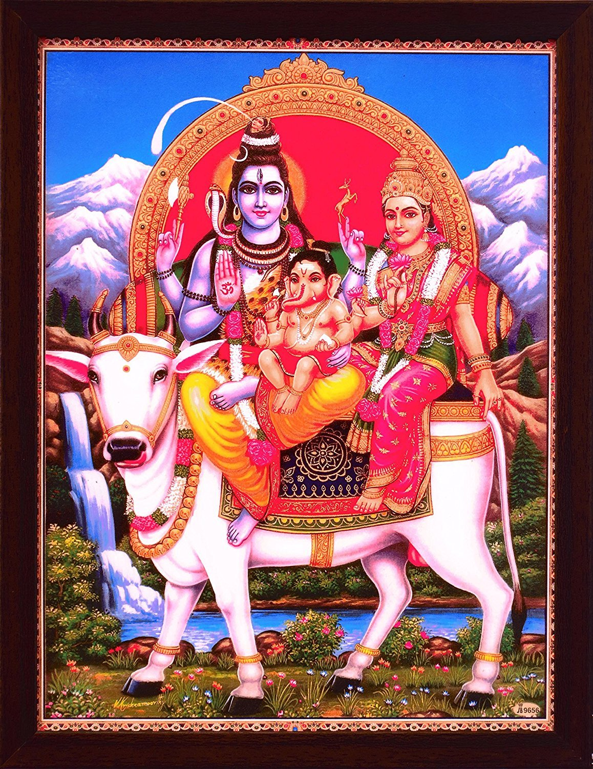 Shiva Parvati and Ganesh sitting on Nandi cow, also ohm symbol is showing, Poster painting with frame for Hindu Religious Worship purpose.