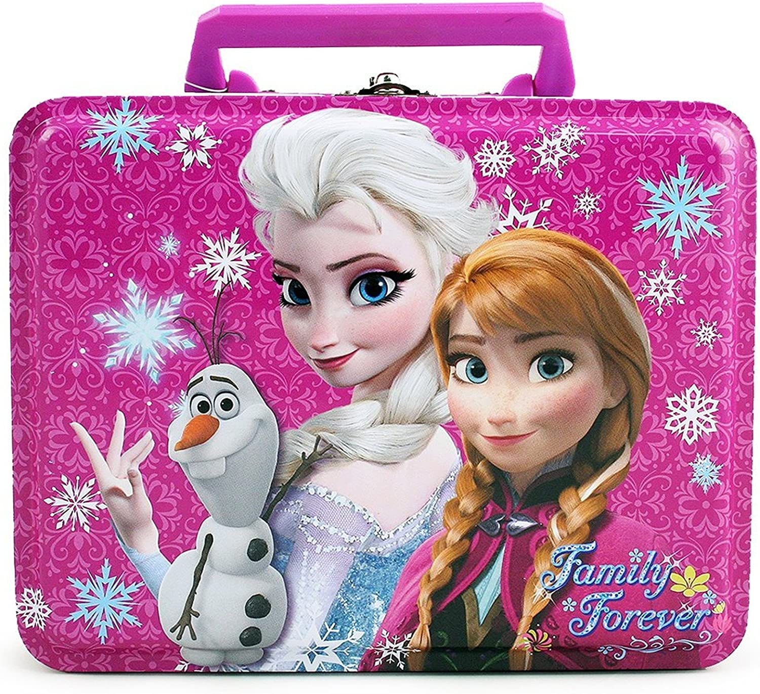 Disney Frozen Elsa, Anna and Olaf Deluxe Purple Tin Lunch Box 7  X 5.5  X 3
