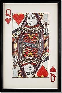 ADM - Reina de corazones - Cuadro con efecto 3D realizado con técnica de collage, enmarcado y protegido por un cristal fro...