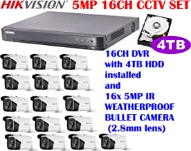 Hikvision 5 Megapixel 16CH HD CCTV System with 16CH DVR + 4TB HDD and 5MP IR 2.8mm lens Outdoor Bullet Camera x16