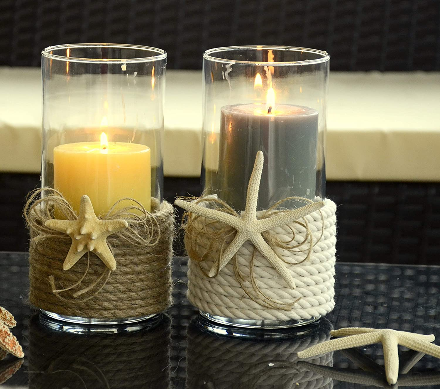 Candle Regular dealer holder with twisted cotton rope a starfish and Selling we - beach