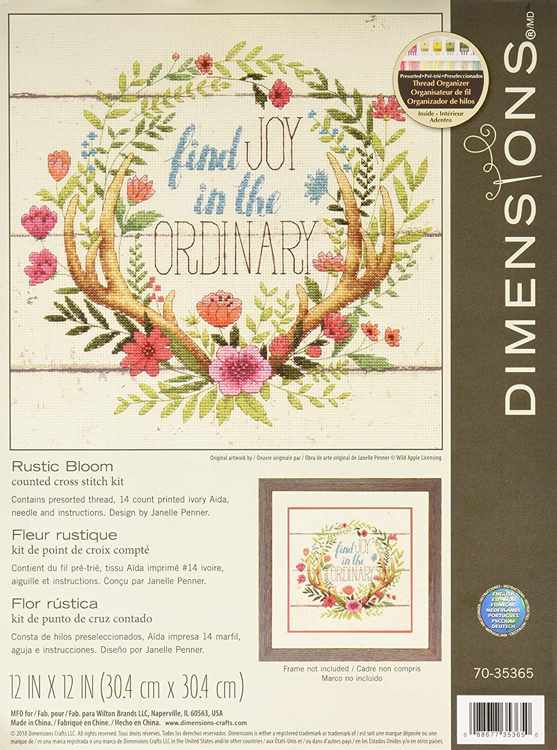 Dimensions 'Rustic Bloom' Counted Inspirational Stitch Cross Kit Safety and trust supreme