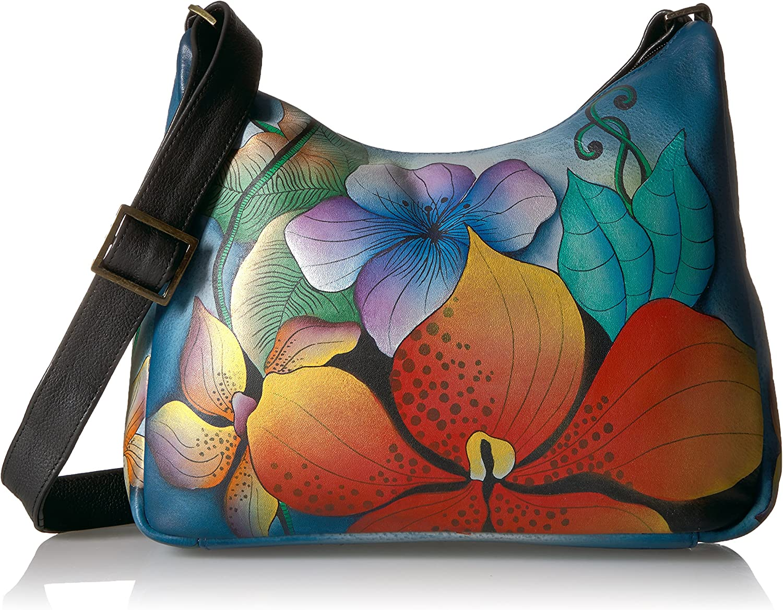 Anna by Anuschka Women's Genuine Leather Medium Hobo Shoulder Bag | Hand Painted Original Artwork | Midnight Floral