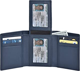 Trifold Leather Wallets for Men – 2 ID Windows Credit Card Holders Slim Design & RFID Elegant...