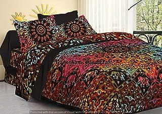 Indian Hippie Gypsy Decoración del hogar Tapiz Boho Funda de edredón Manta de algodón Reversible Queen Tie & Die Mandala Juego de edredón (Multicolor) (Multicolor)