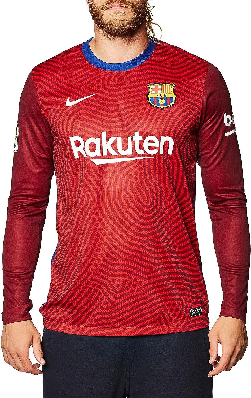 Nike 2020-2021 Barcellona Away Portiere Calcio T-Shirt (Rosso)