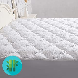 Roore Queen Bamboo Mattress Pad Cover - Fitted Mattress Topper Quilted Pillow Top Overfilled with Down Alternative Filling with Deep Pocket (Stretches up to 8-21