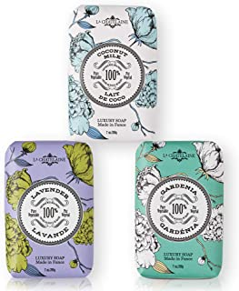 La Chatelaine Luxury Bar Soap | Natural Shea Formula | 7 oz (Lavender, Coconut Milk, Lychee Bilberry, Set of 3)