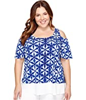 Karen Kane Plus - Plus Size Sheer Hem Cold Shoulder Top