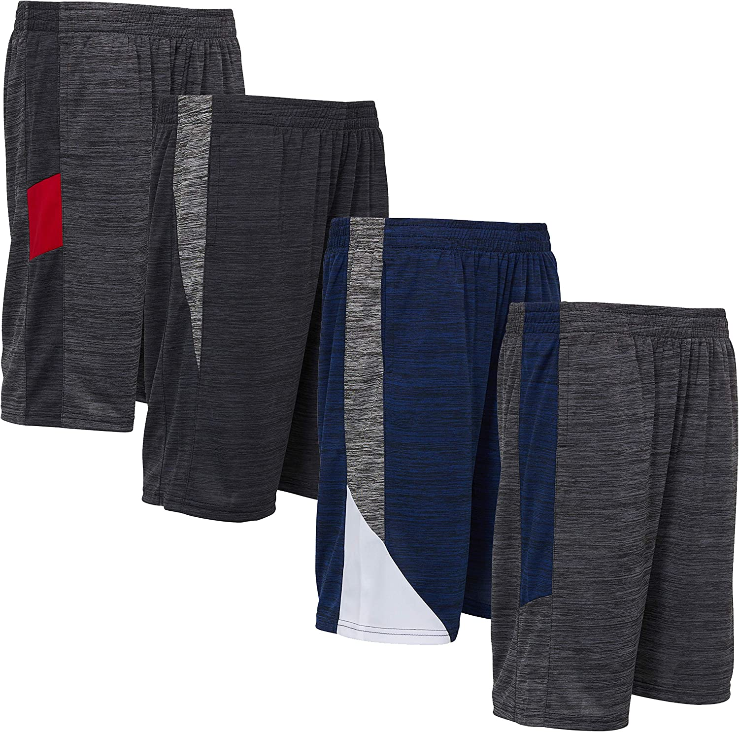 Power Forward 4 Pack: Boys Youth Athletic Active Performance Sports Workout Basketball Lightweight Gym Shorts