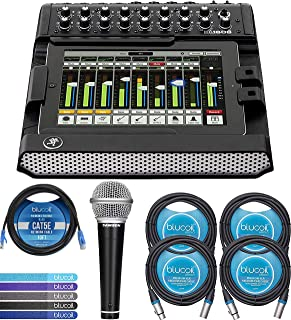 Mackie DL1608 16 Channel Digital Mixer Compatible with iPad Bundle with Samson R21S Cardioid Dynamic Microphone, Blucoil 10-FT 1 Gbps Cat5e Cable, 4-Pack of 10-FT Balanced XLR Cable, and 5x Cable Ties