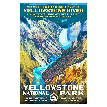 Amazon Com Yellowstone National Park Wyoming Lower Falls Yellowstone River Wpa Style National Park Poster 13 X 19 Wall Decor For Home And Office Original Artwork By Robert B Decker Office Products