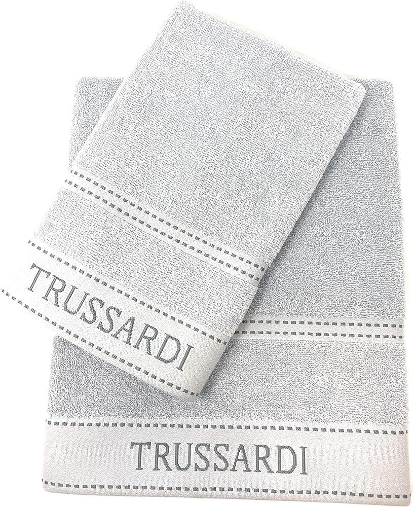 Trussardi home linen, coppia asciugamani,100% cotone Ribbon 1