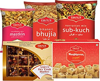 Bikaji - Indian Diwali Festive Gift Box - Diwali Special Sweets & Snacks - Anjeer Dry Fruit Burfee, Manbhavan Soan Papdi, Bhujya, Sub Kuch Snacks, Cornflakes mastkin mix