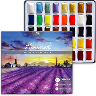 Komorebi Japanese Watercolour Paint Set - 40 Colours - Including Metallic and Neon - Artist Quality - Richly Pigmented- Perfect for Artists, Students or Hobbyists - MozArt Supplies