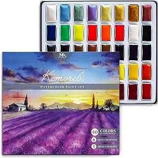 MozArt Supplies Komorebi Kit de peinture aquarelle japonaise 40 couleurs y compris métal et néon Qualité artistique Richem...