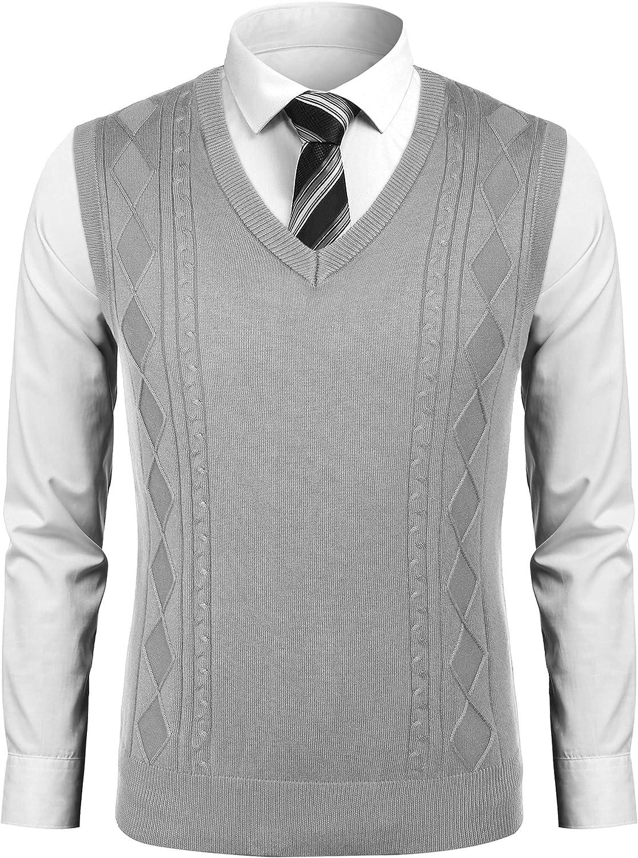 COOFANDY Men's Sweater Vests Knit Vest Tennis Sweaters Cashmere Sweater Vest V Neck