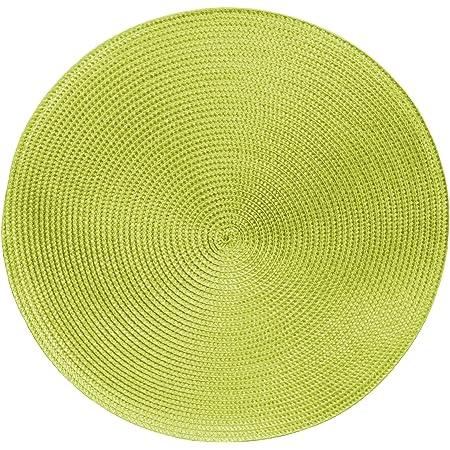 Tischset grün abwaschbar rund 35 cm Ø Untersetzer Platzset Bastoptik Deckchen