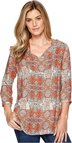 Tribal - Printed 3/4 Sleeve Blouse w/ Tassel