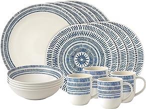 Royal Doulton Dark Blue Ellen DeGeneres 16 Piece Dinnerware Set Chevron, Porcelain, 36.200000000000003 x 27.8 x 30.6 cm