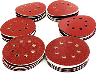 S&R 60 st slipskivor dynor 125 mm/5 tum - Slipskivor sandpapper ark grus 40/60/80/120/180/240 (10 st vardera), 8 hål krok ...