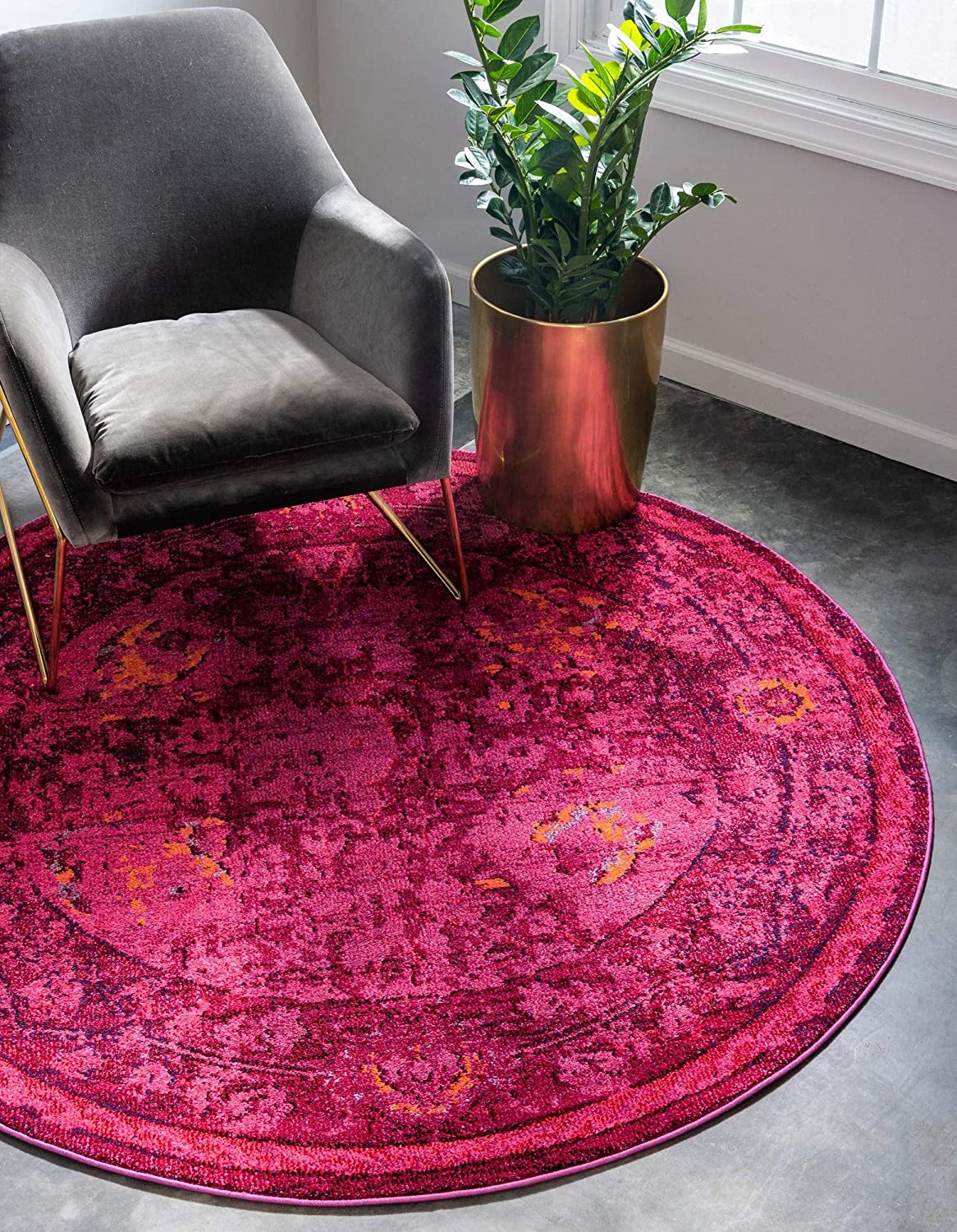 Rugs.com Fleur shipfree Collection Rug – 8' Round Medium-Pile Some reservation Red Ru