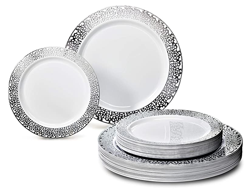 OCCASIONS 120 Piece Pack Heavyweight Wedding Party Disposable Plastic Plates Set - 60 x 10.25'' Dinner + 60 x 7.5'' Salad/dessert (Florence White/Silver)