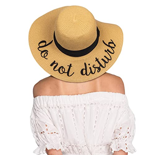 53537c61a5d3d C.C Hatsandscarf Exclusives Summer Embroidered Lettering Floppy Brim Straw Sun  Hat (ST-2017)