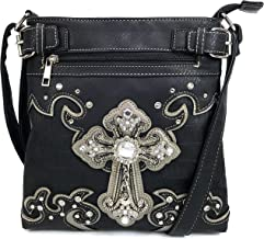 Justin West Cowgirl Western Cross Floral Embroidered Concealed Carry Purse