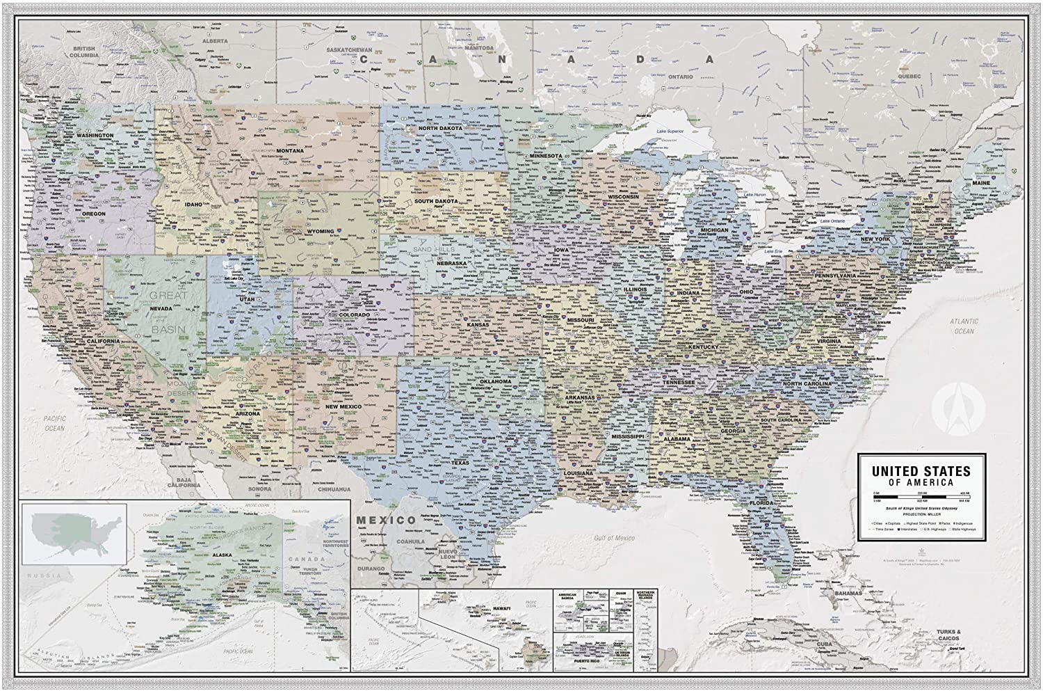 Outlet SALE Laminated United States Odyssey Executive Map Style Poster Classic