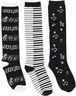 Women's Black White Music Notes, Piano Keys, Instrum