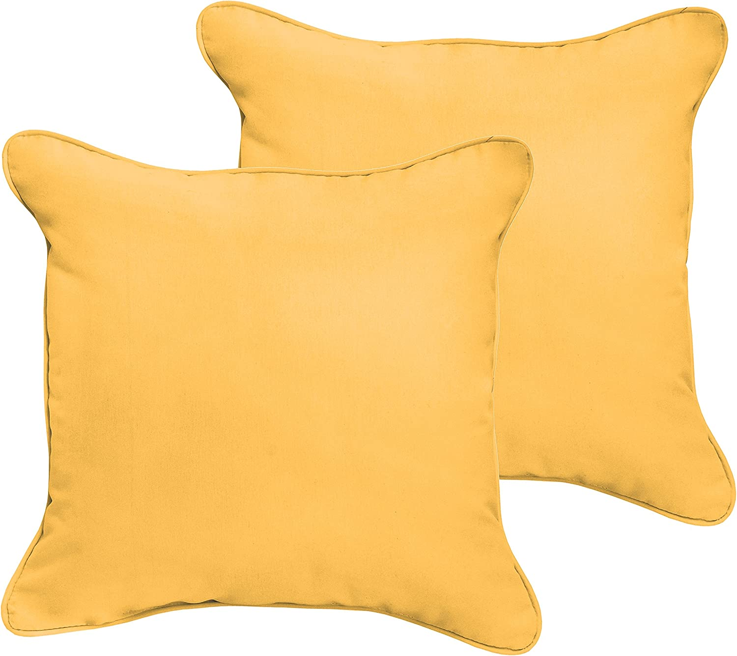 Mozaic Company Amps100033 Indoor Outdoor Sunbrella Square Pillow With Corded Edges Set Of 2 20 X 20 Sunflower Yellow Garden Outdoor