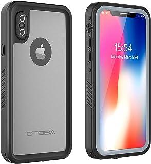 OTBBA iPhone X/iPhone Xs Waterproof Case, Full Sealed Snowproof Dustproof Shockproof Heavy Duty Protection Underwater Case for iPhone X/iPhone Xs (Black-Translucent)
