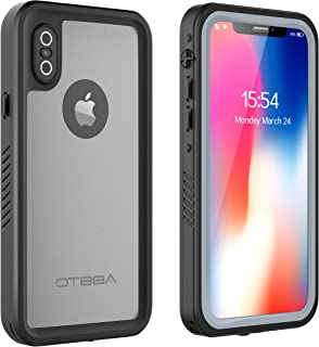 OTBBA iPhone X/iPhone Xs Waterproof Case, Full Sealed IP68 Certified Snowproof Dustproof Shockproof Heavy Duty Protection Underwater Case for iPhone X/iPhone Xs (Black-Translucent)