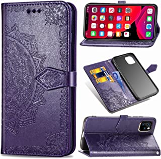 "Wallet Case Compatible with iPhone 11 Case Cover 6.1"" 2019, [Mandala Flower] Premium PU Leather Wallet case with [Card Holder, Strap, Kickstand], Flip Folio iPhone 11 Phone Case for Women-Purple"