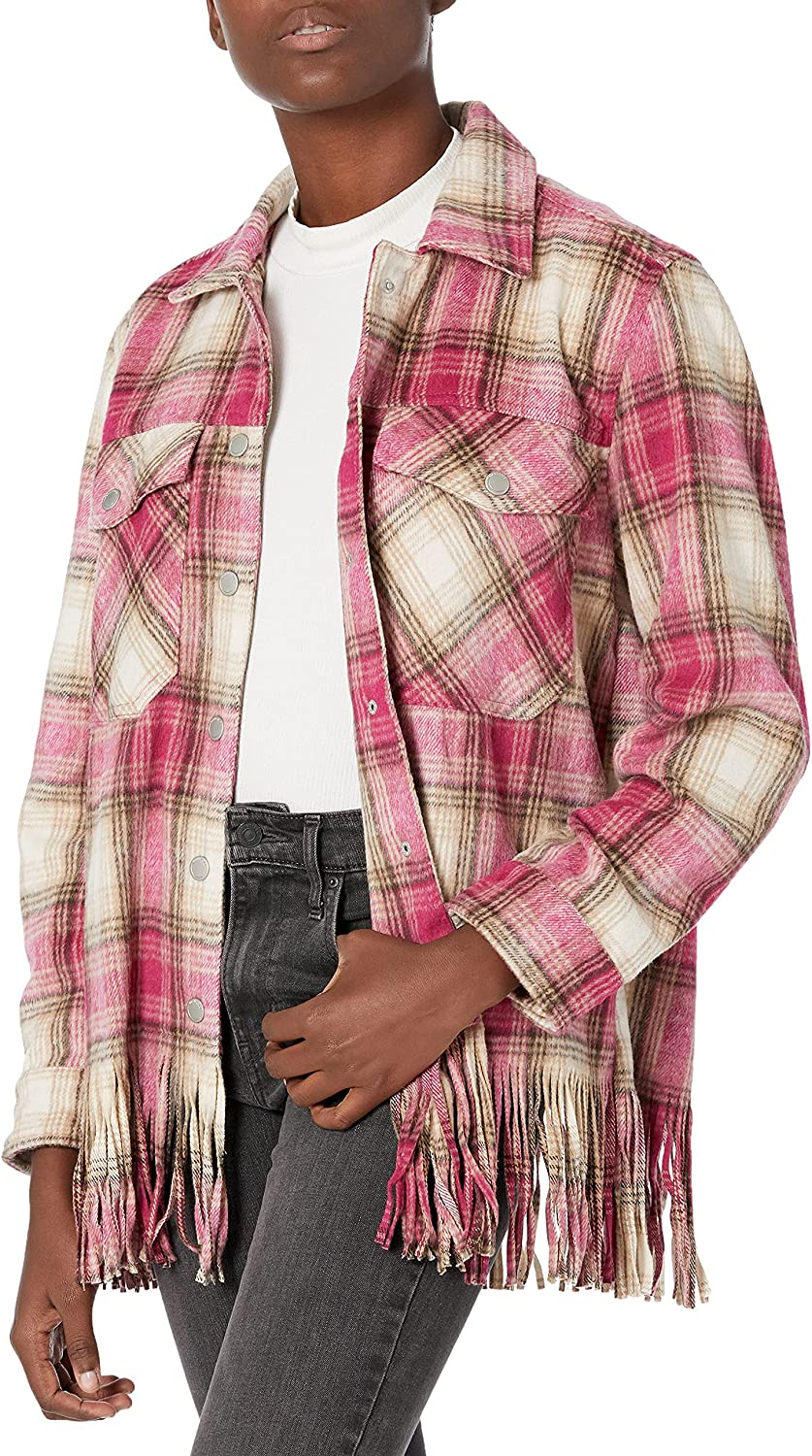 [BLANKNYC] Womens Snap Front Plaid Shirt with Fringe Hem Detail That Can Also Be Worn as a Jacket